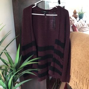 Maroon and black striped cardigan